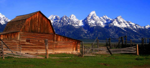 Jackson Hole Wy Barn & grand Tetons Mountain Range